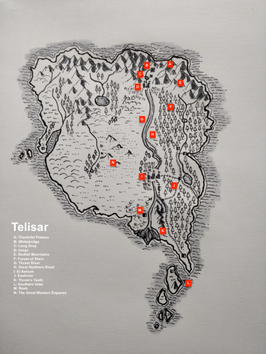A map of the Thorimfel Plateau in northern Telisar, hand-drawn, of dubious accuracy. Purchased by Ara from Anthol's Amazing Arcana.