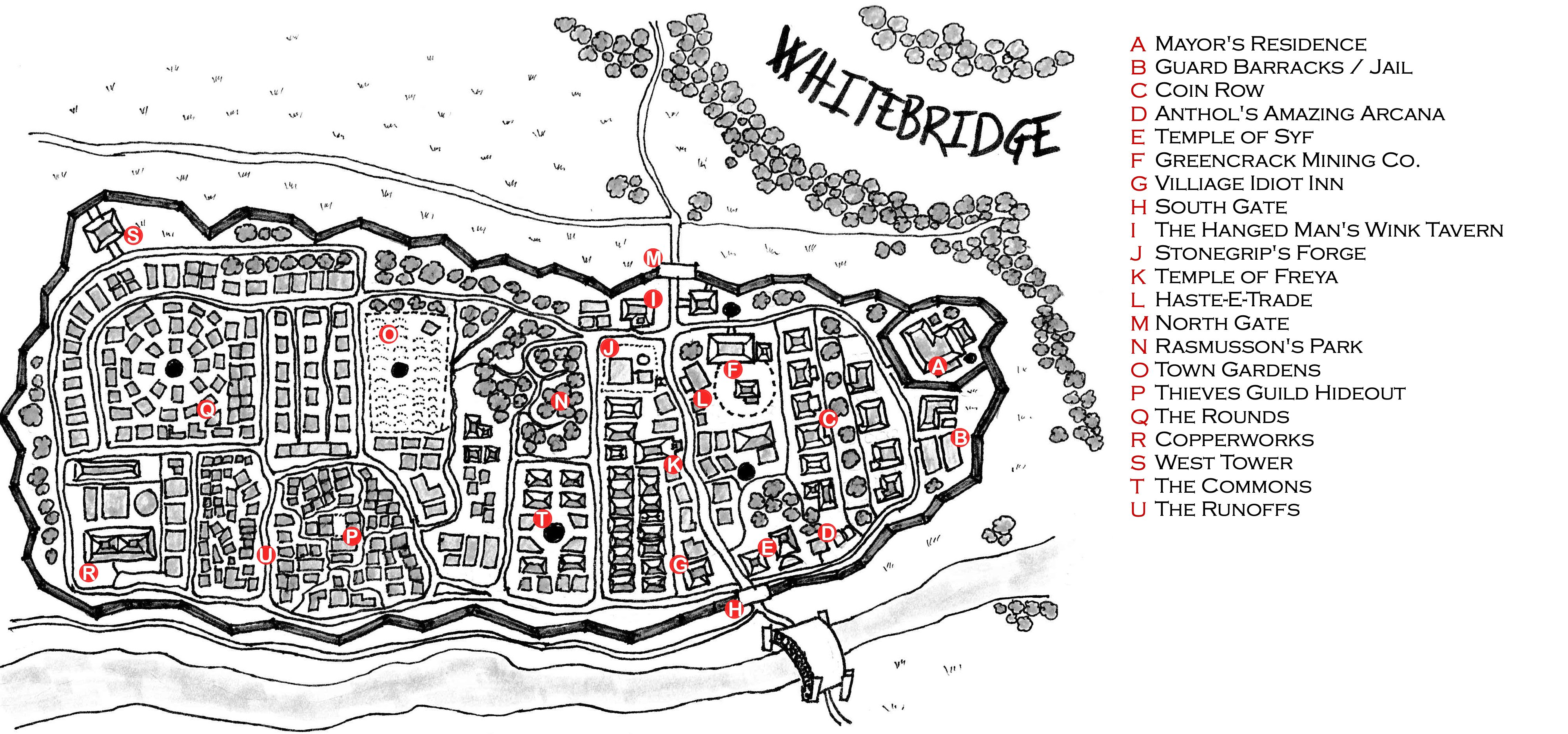 An annotated map of the town of Whitebridge. Found in the basement of the Temple of Syf.